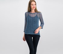 International Concepts Sequined Open-Knit Illusion Top, Deep Twilight