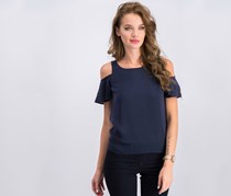 Bar III Flutter-Sleeve Cold-Shoulder Top, Navy Blazer