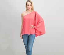 International Concepts Pleated One-Shoulder Top, Polished Coral