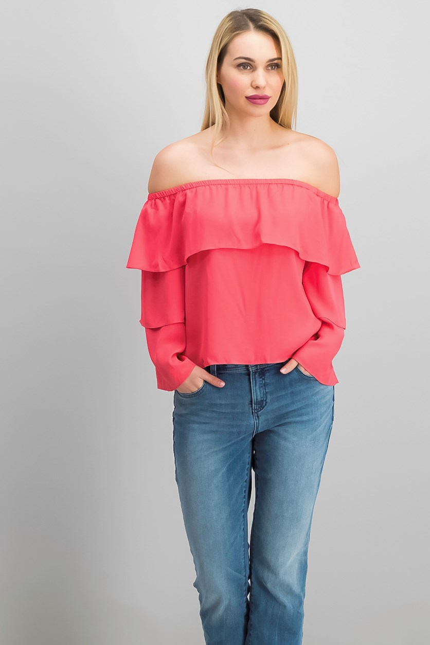 Petite Tiered Off-The-Shoulder Top, Polished Coral