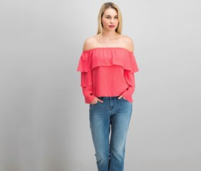 Inc Petite Tiered Off-The-Shoulder Top, Polished Coral