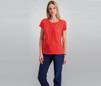 Maison Jules Ruffled Cotton T-Shirt, Tomato