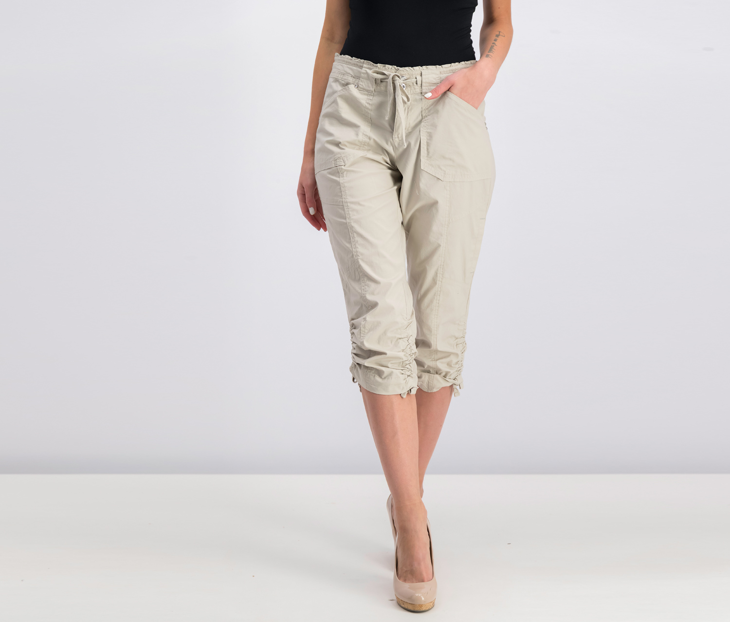 INC Curvy-Fit Cropped Cargo Pants, Toad Beige