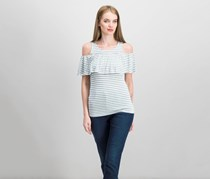 Maison Jules Striped Cold-Shoulder Top, Bright White Combo