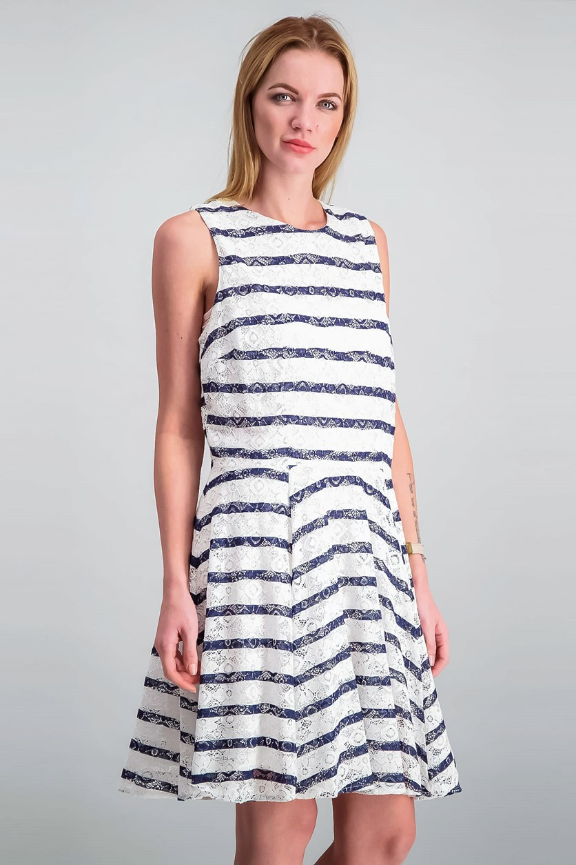 Striped Lace Fit & Flare Dress, Bright White Combo