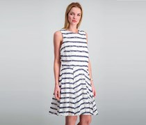 Maison Jules Striped Lace Fit & Flare Dress, Bright White Combo