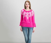 International Concepts Embroidered Peasant Top, Intense Pink