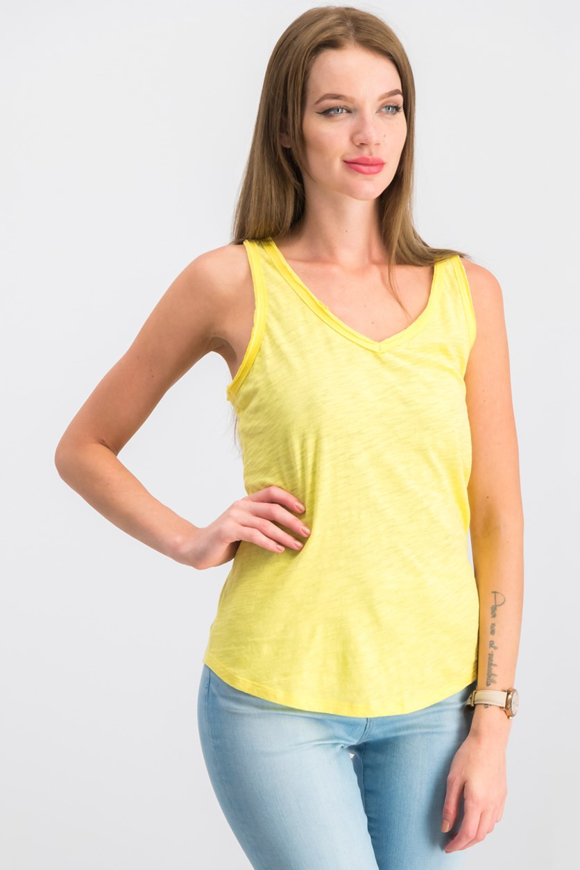 6aa74729c922 Maison Jules Cotton V-Neck Tank Top, Spring Daffodil