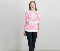 Inc International Concepts Cold-Shoulder Peasant Top, Intense Pink
