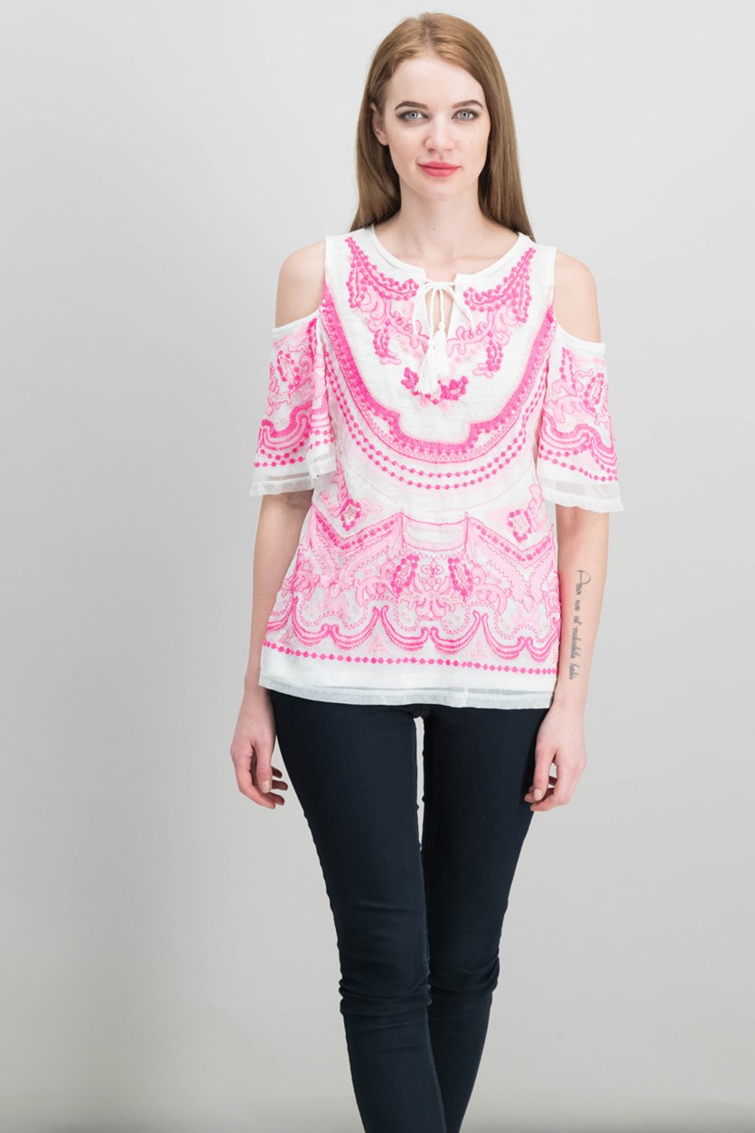 International Concepts Cold-Shoulder Peasant Top, Intense Pink