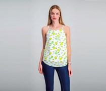 Maison Jules Tiered Lemon-Print Top, Bright White Combo