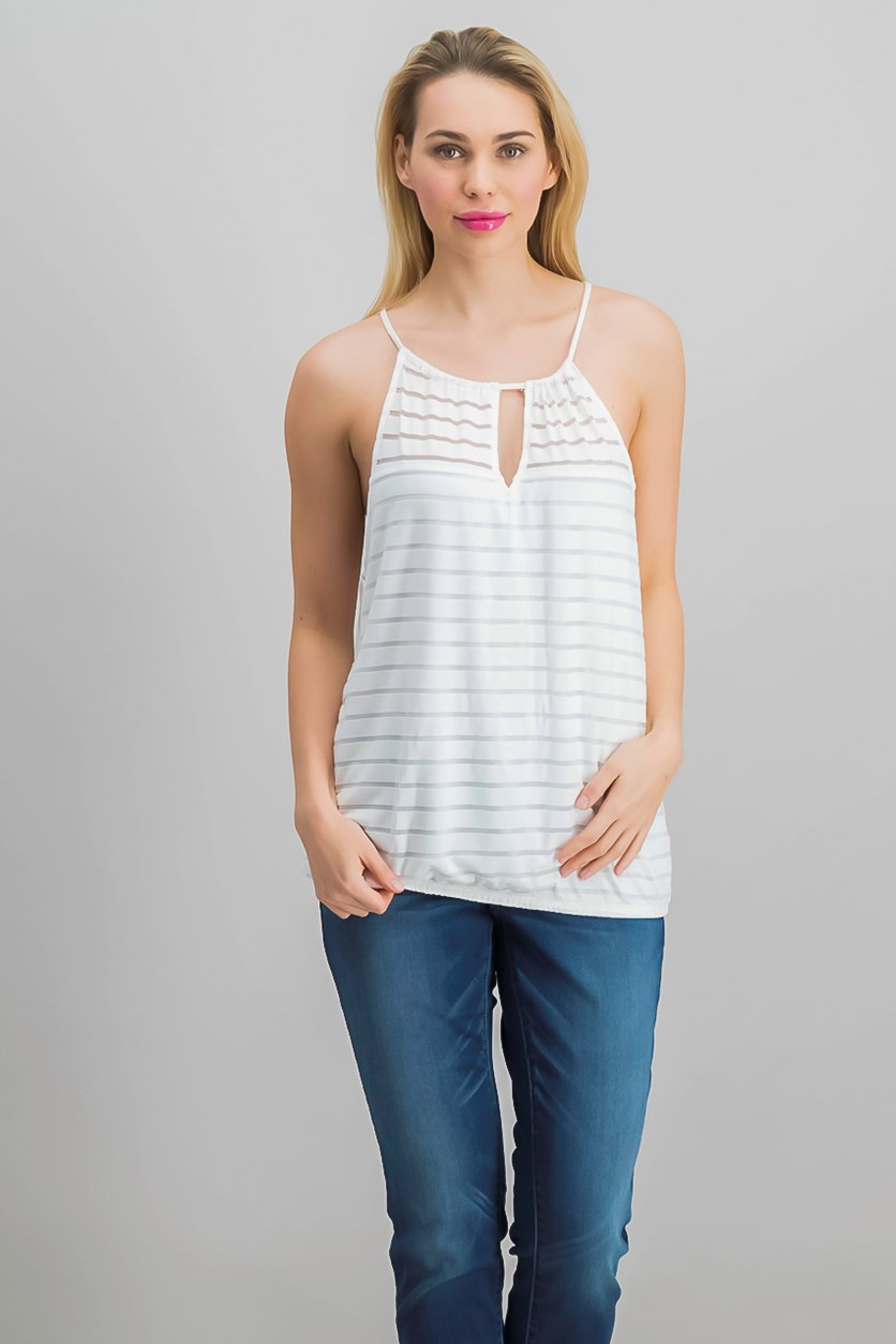 International Concepts Illusion-Stripe Halter Top, Bright White