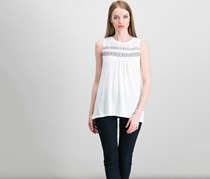 Style & Co Petite Embroidered Top, Beach Day White