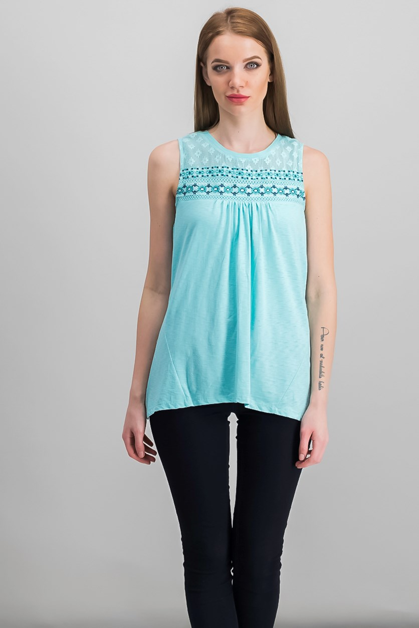 Petite Embroidered Top, Beach Day Aqua