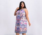 Women Plus Size Printed Sheath Dress, Blue/Pink Combo
