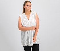 Style & Co Cotton Eyelet-Embroidered Pleated Top, Bright White