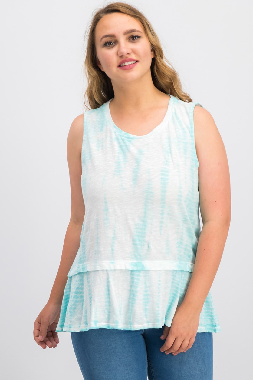 Cotton Tie-Dyed Flounce-Hem Top, Aqua Brook Dye