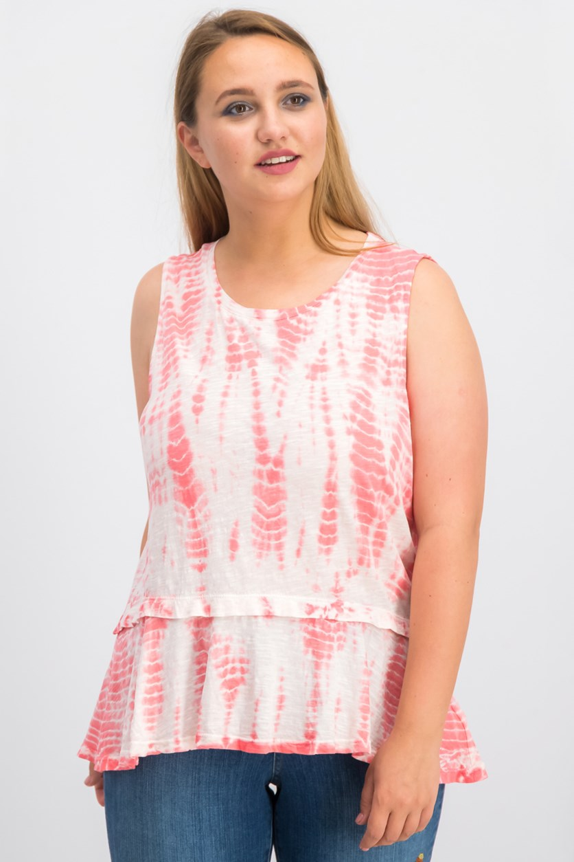 Cotton Tie-Dyed Flounce-Hem Top, Coral Bliss Dye