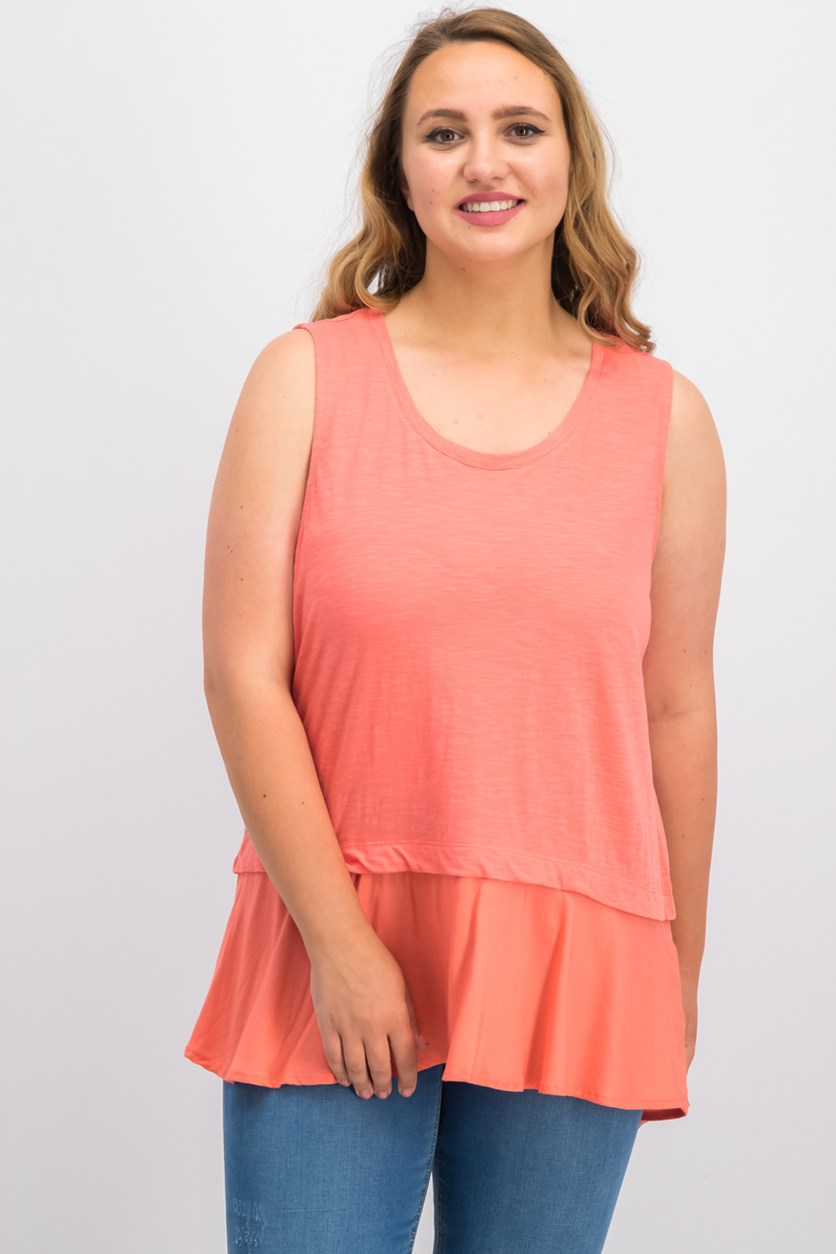 Women's Cotton Peplum-Hem Top, Coral Bliss