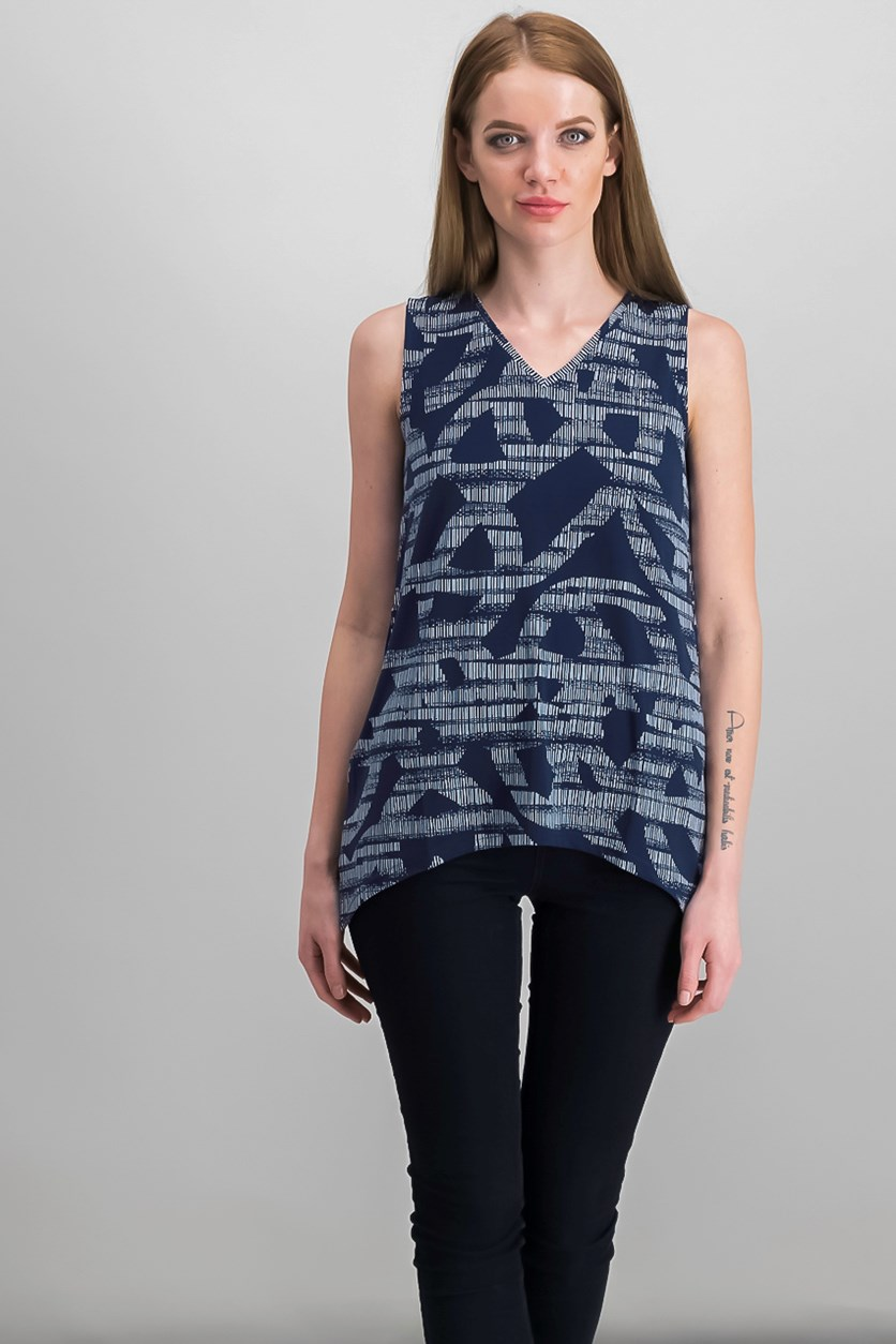 Petite Printed Swing Top, Navy