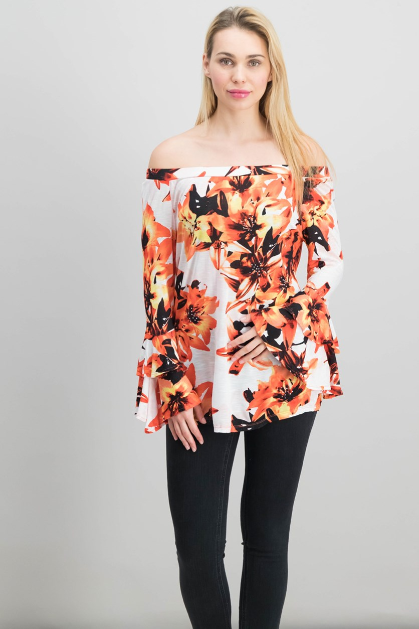 International Concepts Off-The-Shoulder Top, Sunset Flowers
