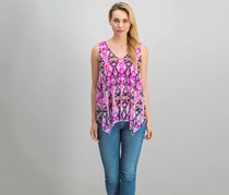 INC Women Handkerchief-Hem Top, Ikat Reptile