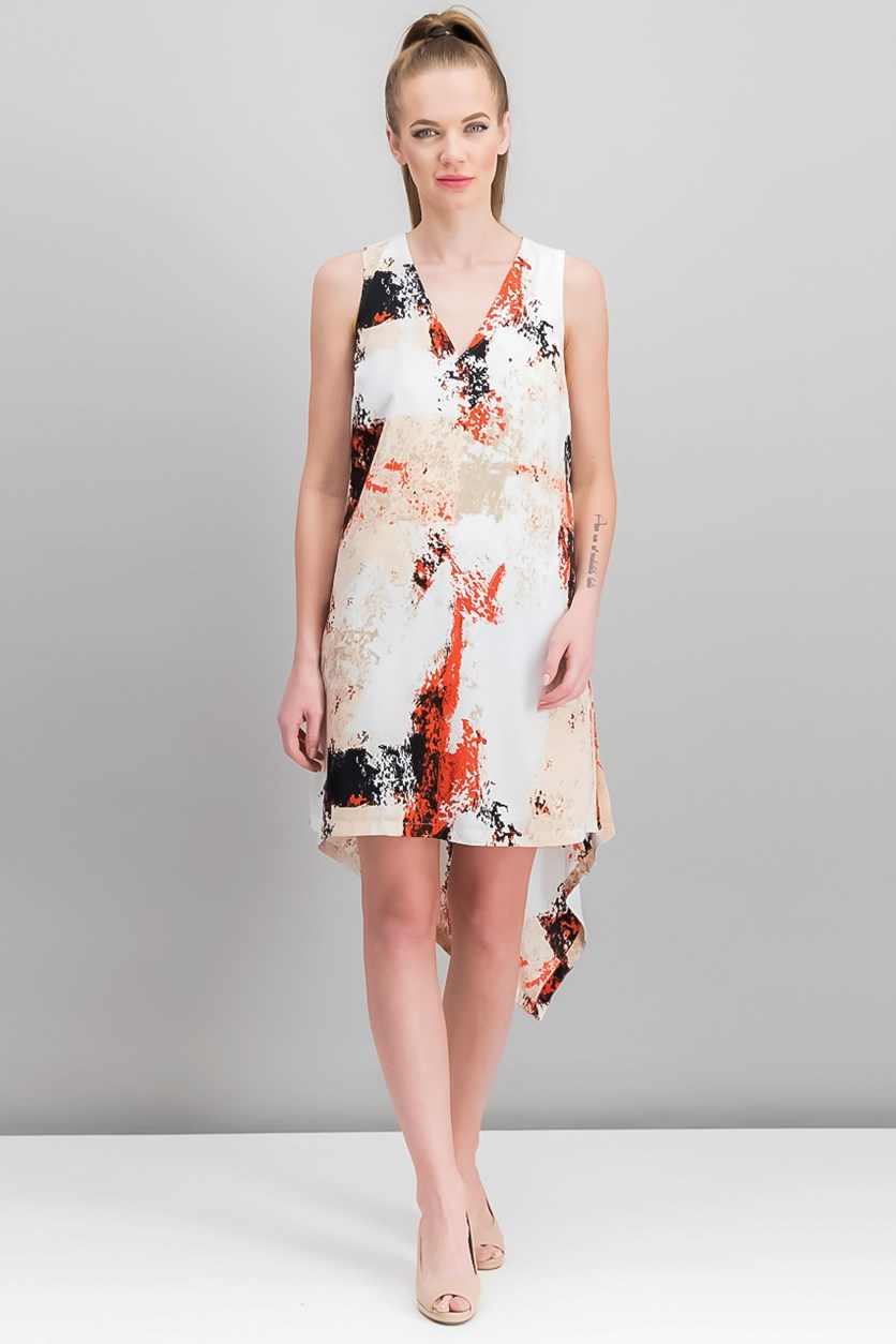 Printed Asymmetrical Shift Dress, Peach Combo