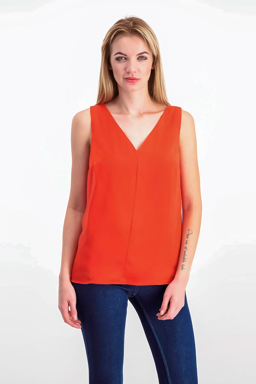 V-Back Tank Top, Optic Orange