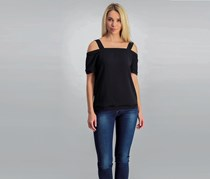 Bar III Fringe Off-The-Shoulder Top, Deep Black