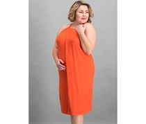 Bar III Faux-Wrap Shift Dress, Optic Orange