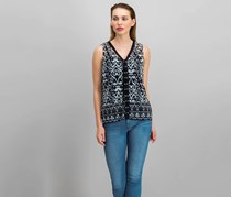 INC International Concepts Lace-Up Top, African Ikat/Black