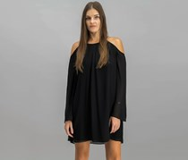 Bar III Cold-Shoulder Chiffon Dress, Black