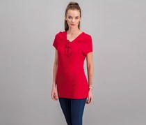 Inc International Concepts Lace-Up T-Shirt, Real Red