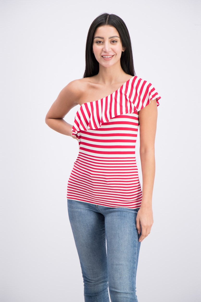 International Concepts One-Shoulder Top, Real Red