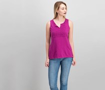 Charter Club Petite Cotton Crochet Top, Royal Fuschia
