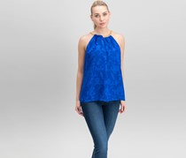 Thalia Sodi Women's Floral-Print Chain-Detail Top, Blue