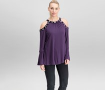 International Concepts Velvet-Trimmed Embellished Top, Blackberry