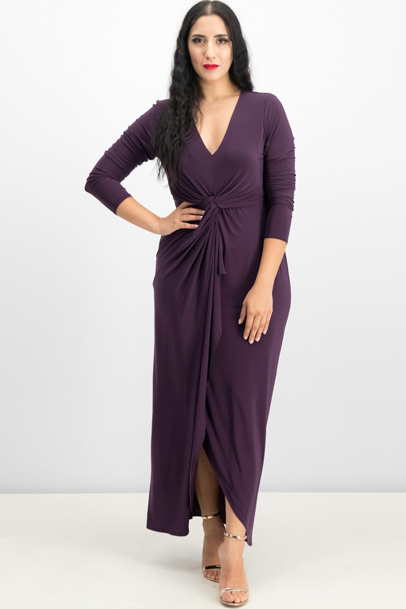 Long-Sleeve High-Low Maxi Dress, Wicked Purple