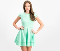 City Studios Juniors' Textured Fit & Flare Dress, Mint