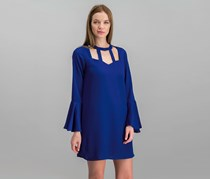 City Studios Juniors' Bell-Sleeve Choker Dress, Royal