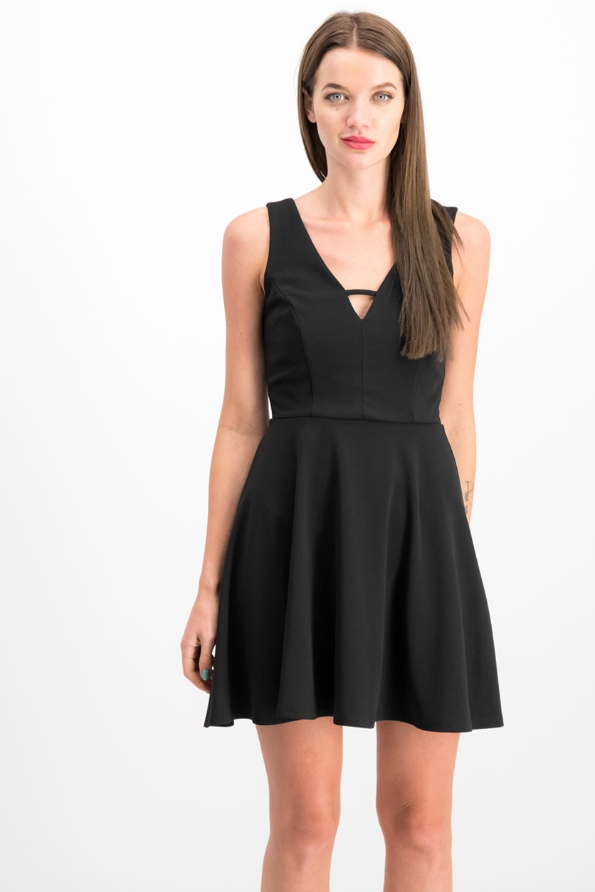 Juniors Keyhole-Neck Fit & Flare Dress, Black