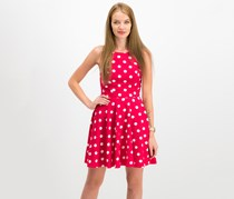City Studio Juniors' Polka Dot Fit & Flare Dress, Red