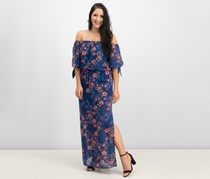 City Studios Off-The-Shoulder Tie-Cuff Maxi Dress, Navy