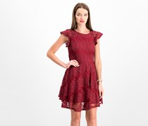 City Studios Juniors' Lace-Stripe Fit & Flare Dress, Cabernet