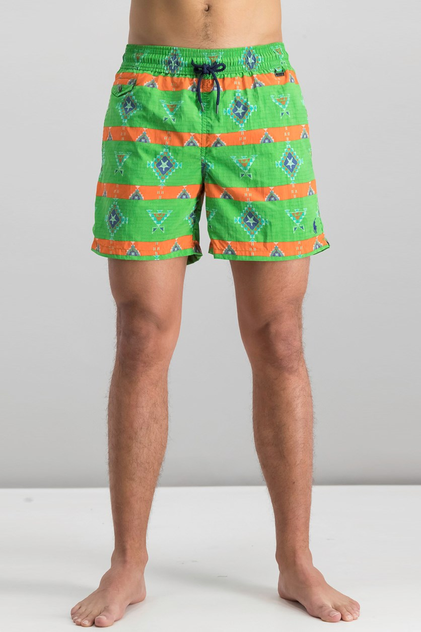 Mens 5-34 Print Swim Trunks, Green Native