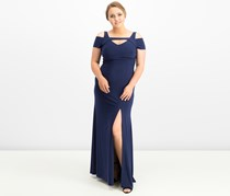 Nightway Cold-Shoulder Keyhole Gown, Twilight