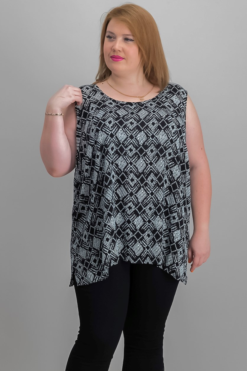Women Plus Size Printed Shell Top, Black/White