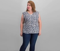 Nine West Plus Size Printed Top, Navy Combo