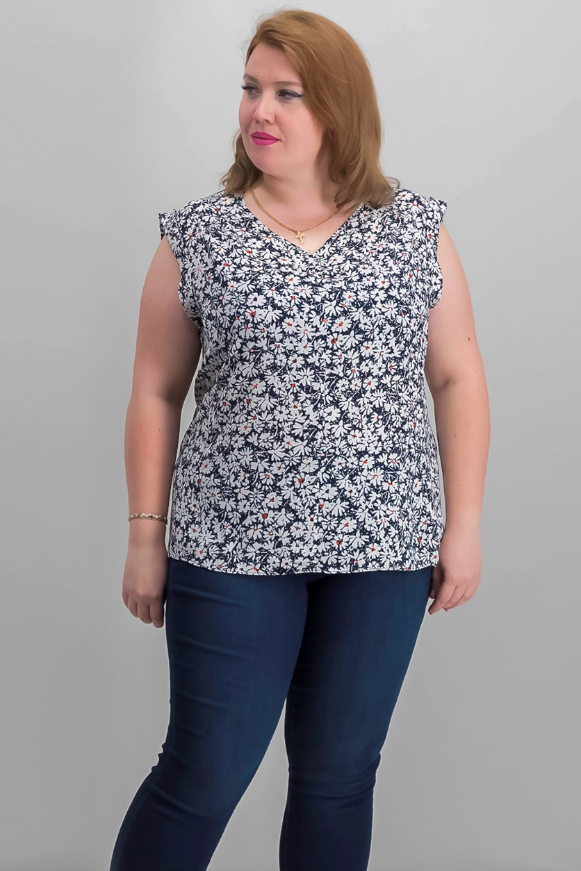 Plus Size Printed Top, Navy Combo