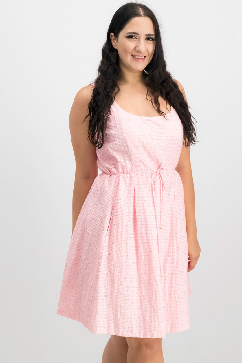 Shadow-Stripe Fit & Flare Dress, Tutu Pink